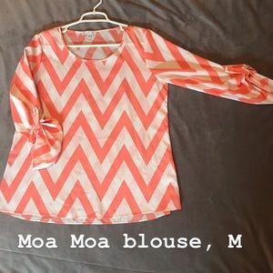 Moa Moa coral and white chevron blouse